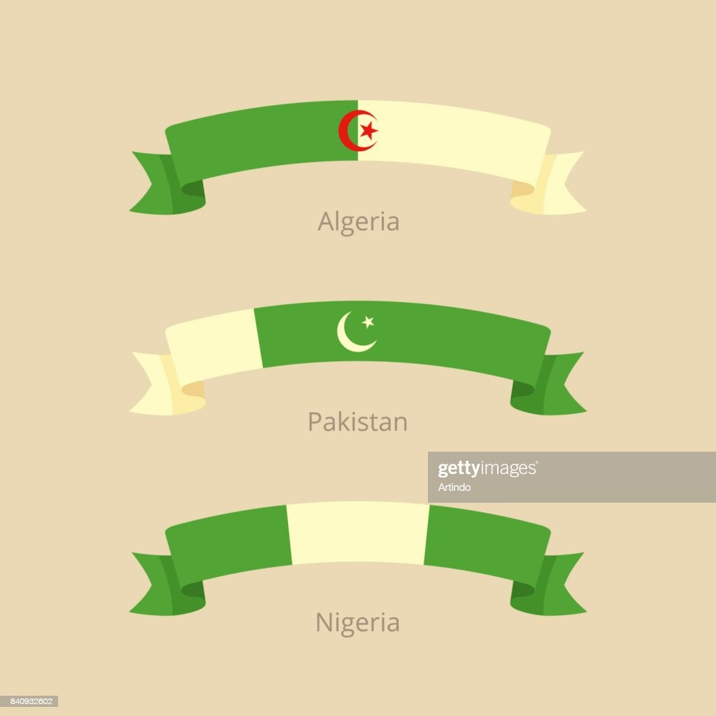 Ribbon with flag of Algeria, Pakistan and Nigeria.