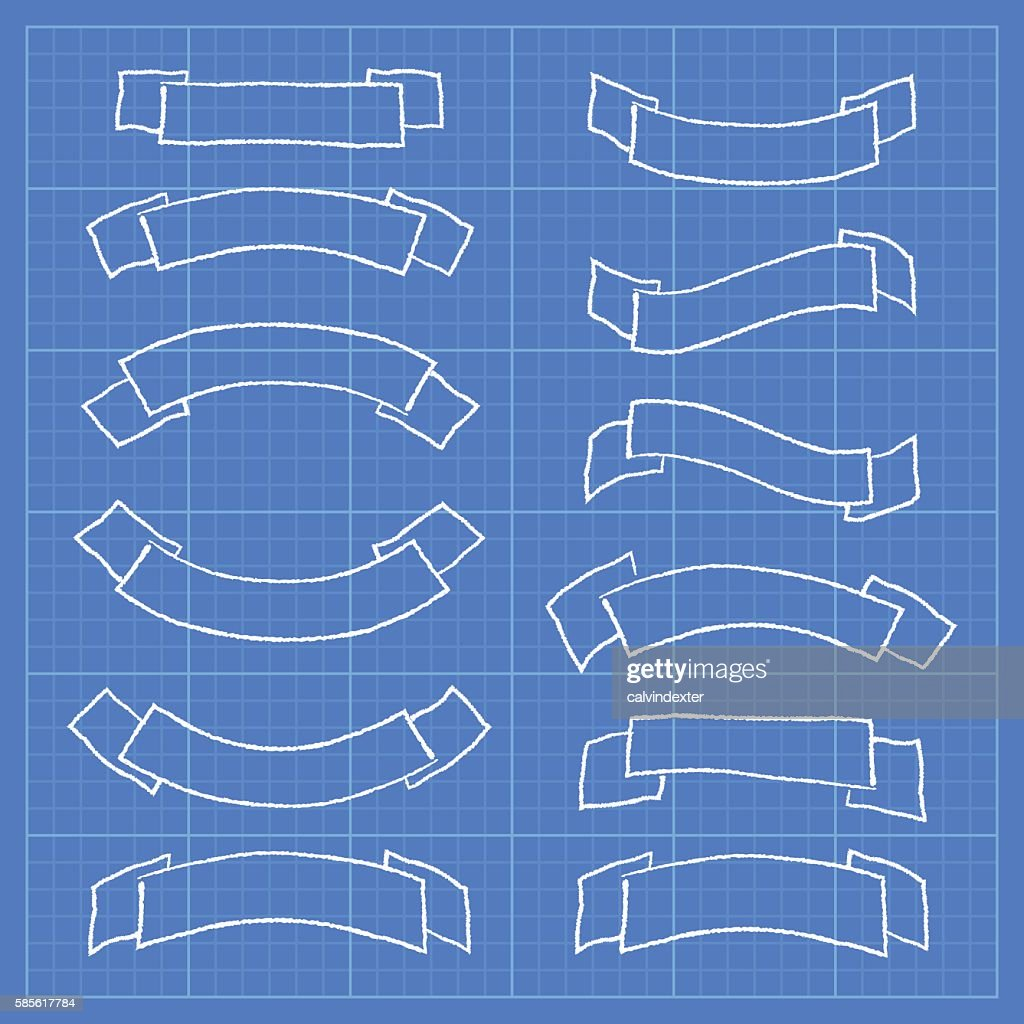 Ribbons and banners on blueprint document vector art getty images ribbons and banners on blueprint document vector art malvernweather Gallery