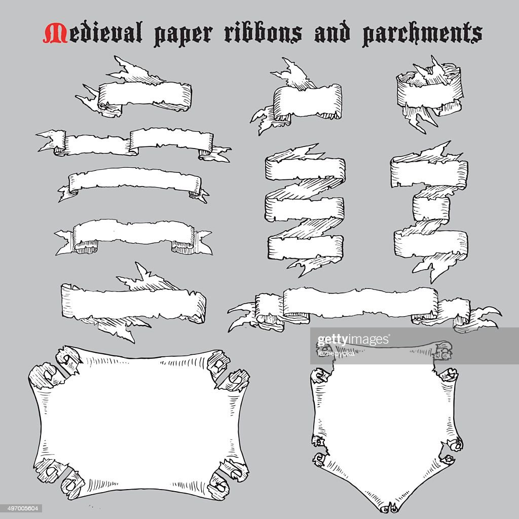 Ribbons and parchments in medieval engraving style.