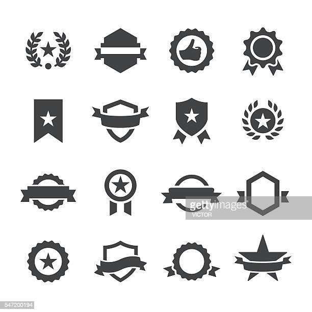 ribbons and seals icons - acme series - medallion stock illustrations
