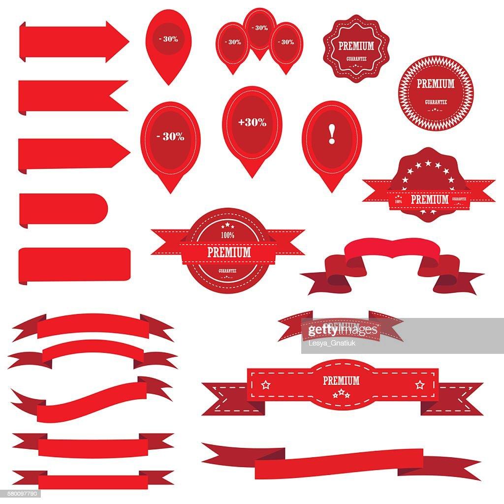 Ribbons big vector set.