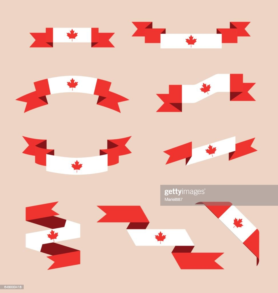 Ribbons or banners in colors of Canadian flag