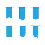 Ribbons scroll banner. Banner label blue vector
