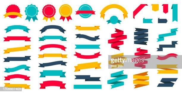 ribbons set - vector flat collection - first place stock illustrations