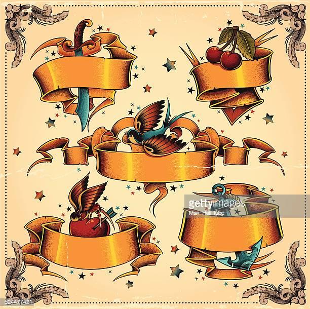 bildbanksillustrationer, clip art samt tecknat material och ikoner med ribbons set - tatuering