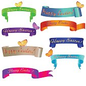 Ribon banner Happy Easter with butterfly