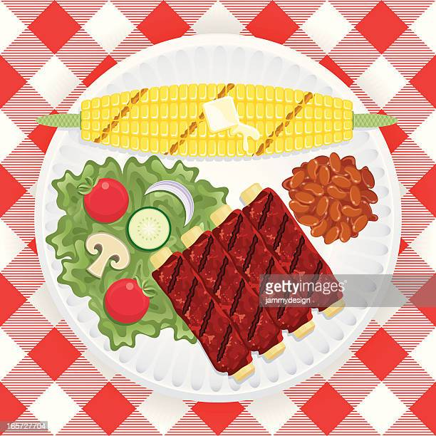bbq ribs & corn - baked beans stock illustrations, clip art, cartoons, & icons