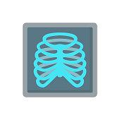 Ribs X-ray human bones medicine flat vector icon
