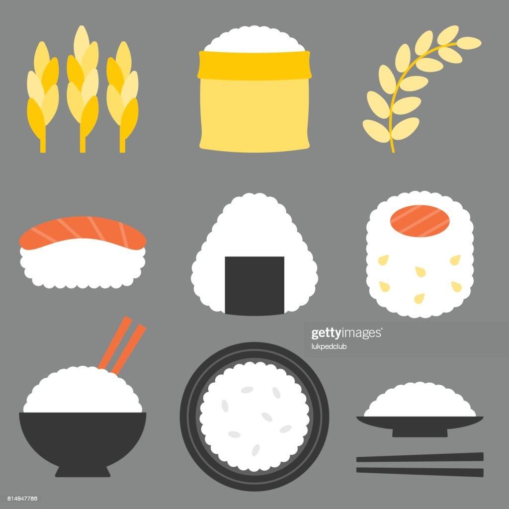 rice icon vector, flat design