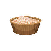 Rice porridge in wooden bowl. Food icon. Body and health care theme. Ingredient used in cooking and recipe for homemade face mask. Cartoon flat vector design