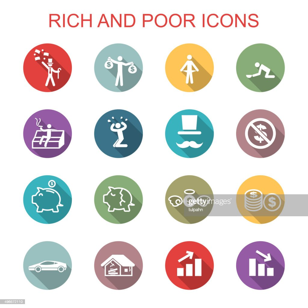rich and poor long shadow icons