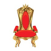 Rich golden throne isolated on white background