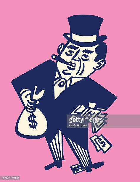 rich man holding money and smoking a cigar - miserly stock illustrations