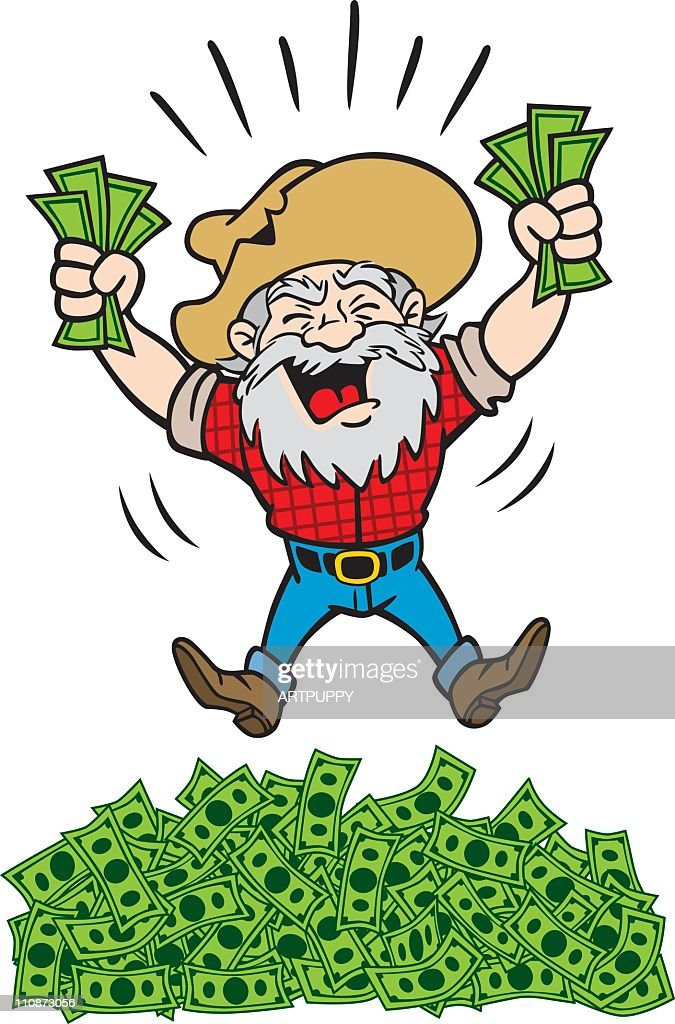 Rich Miner With a Lot of Money : stock illustration