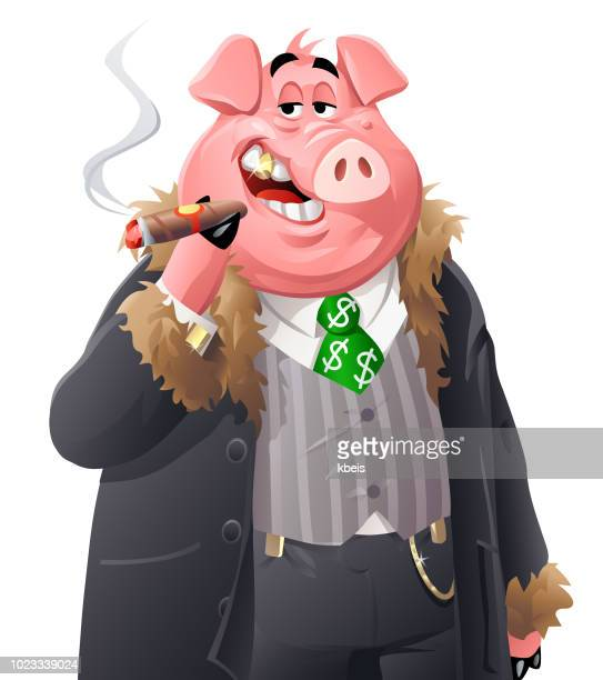 rich pig - millionnaire stock illustrations, clip art, cartoons, & icons