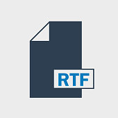 Rich Text Format (RTF) file Icon on gray background.