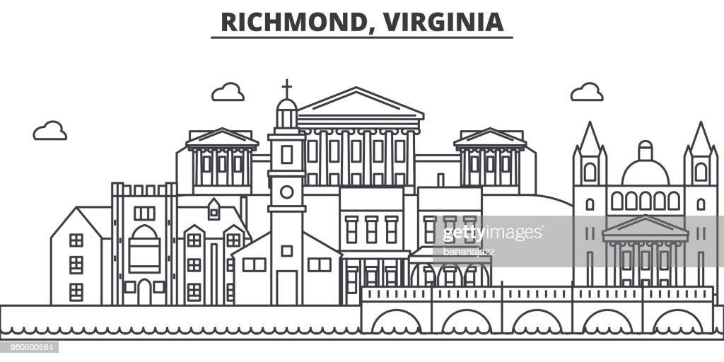 Richmond, Virginia architecture line skyline illustration. Linear vector cityscape with famous landmarks, city sights, design icons. Landscape wtih editable strokes