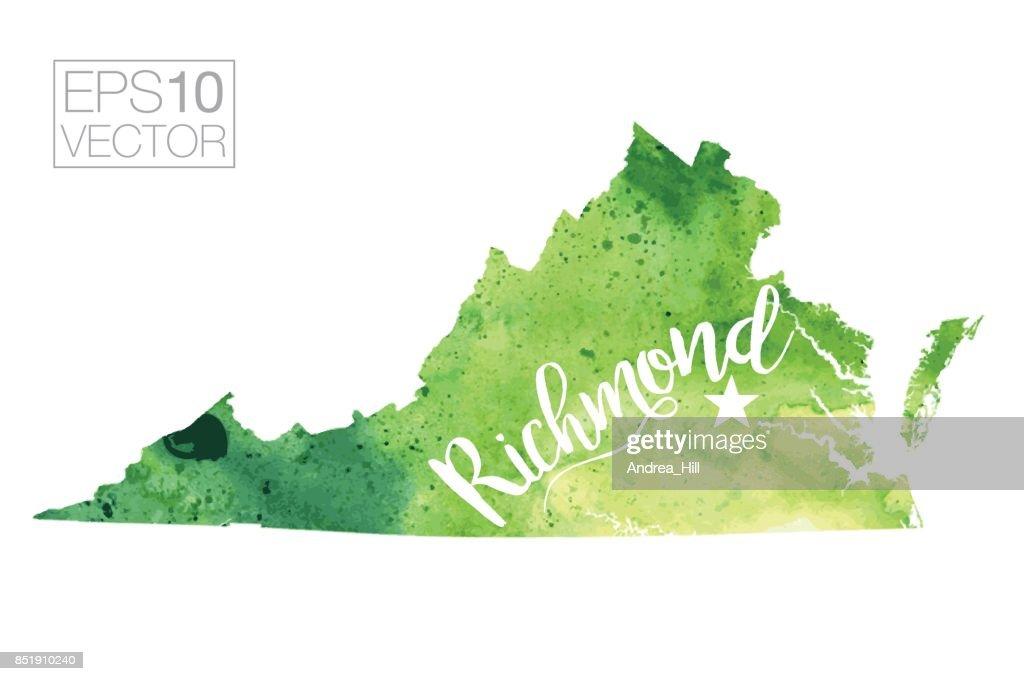 Richmond Virginia Usa Vector Watercolor Map Vector Art | Getty Images
