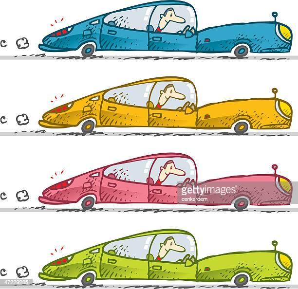rickety car set - street racing stock illustrations, clip art, cartoons, & icons