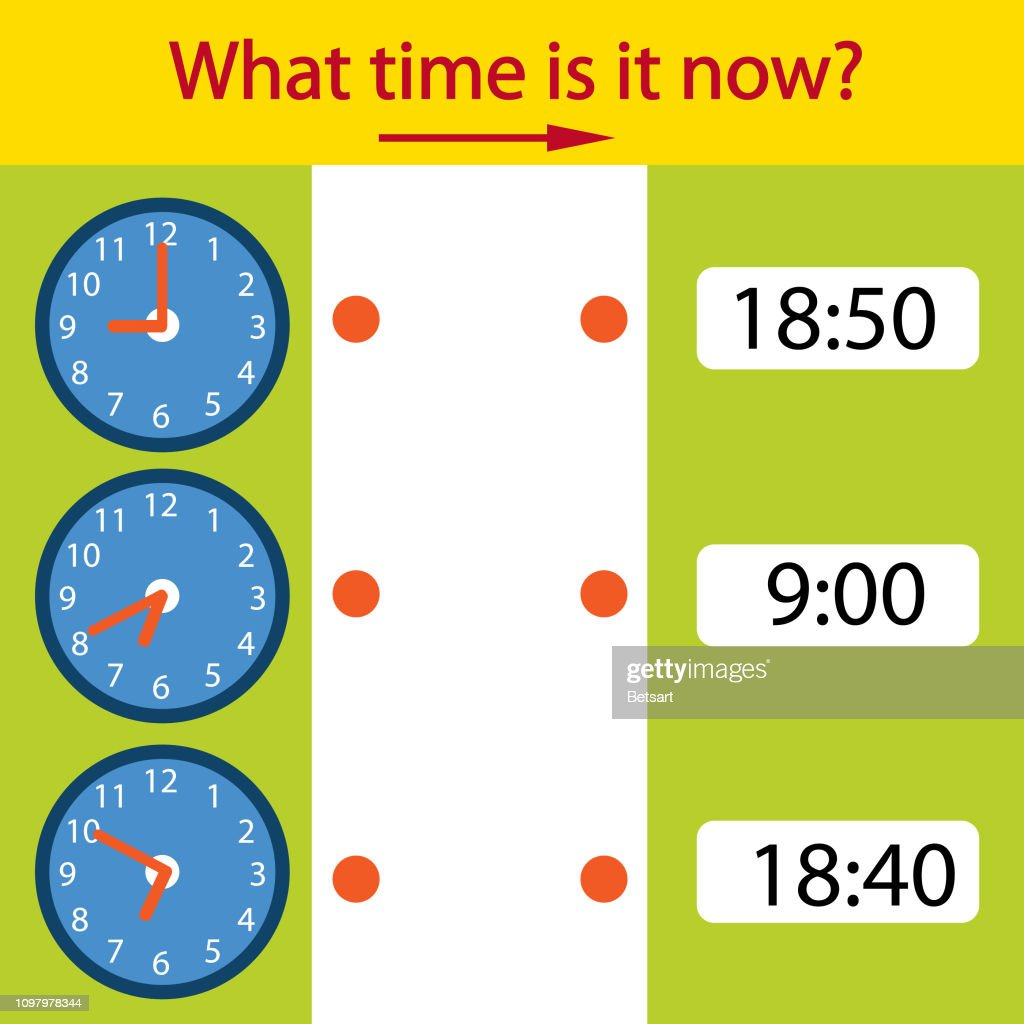 Riddle the children clock. What time is it now? Children funny entertainment and amusement. Help to understand the clock time. Vector illustration.