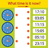 Riddle the children clock. What time is it now? Kids game the page. Children funny entertainment and amusement. Help to understand the clock time. Vector illustration.