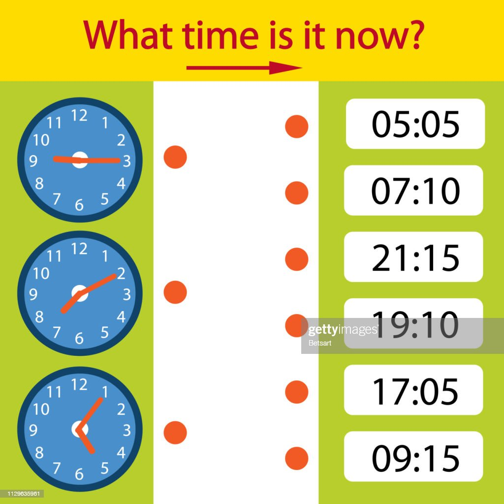 Riddle the children clock. What time is it now? Kids puzzle. Children funny entertainment and amusement. Help to understand the clock time. Vector illustration.