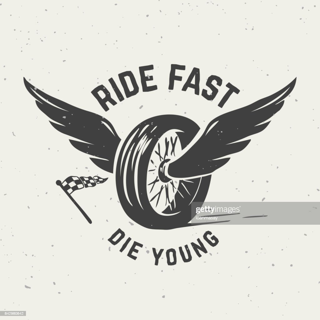 Ride fast die young. Hand drawn wheel with wings.