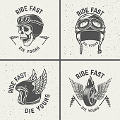 Ride fast die young. Racer helmets, wheel with wings.