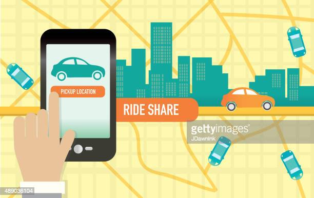 rideshare or commuting mobile phone app concept - commuter stock illustrations, clip art, cartoons, & icons