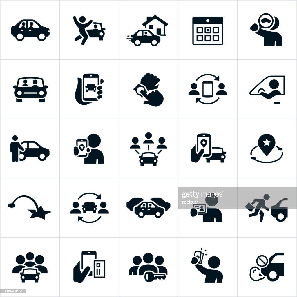 Ícones de ridesharing e de carpooling : Ilustração