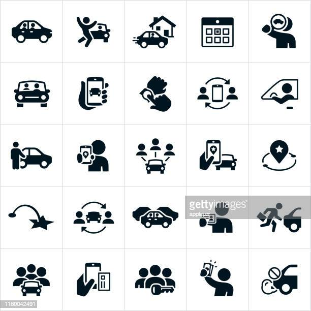 ridesharing and carpooling icons - land vehicle stock illustrations
