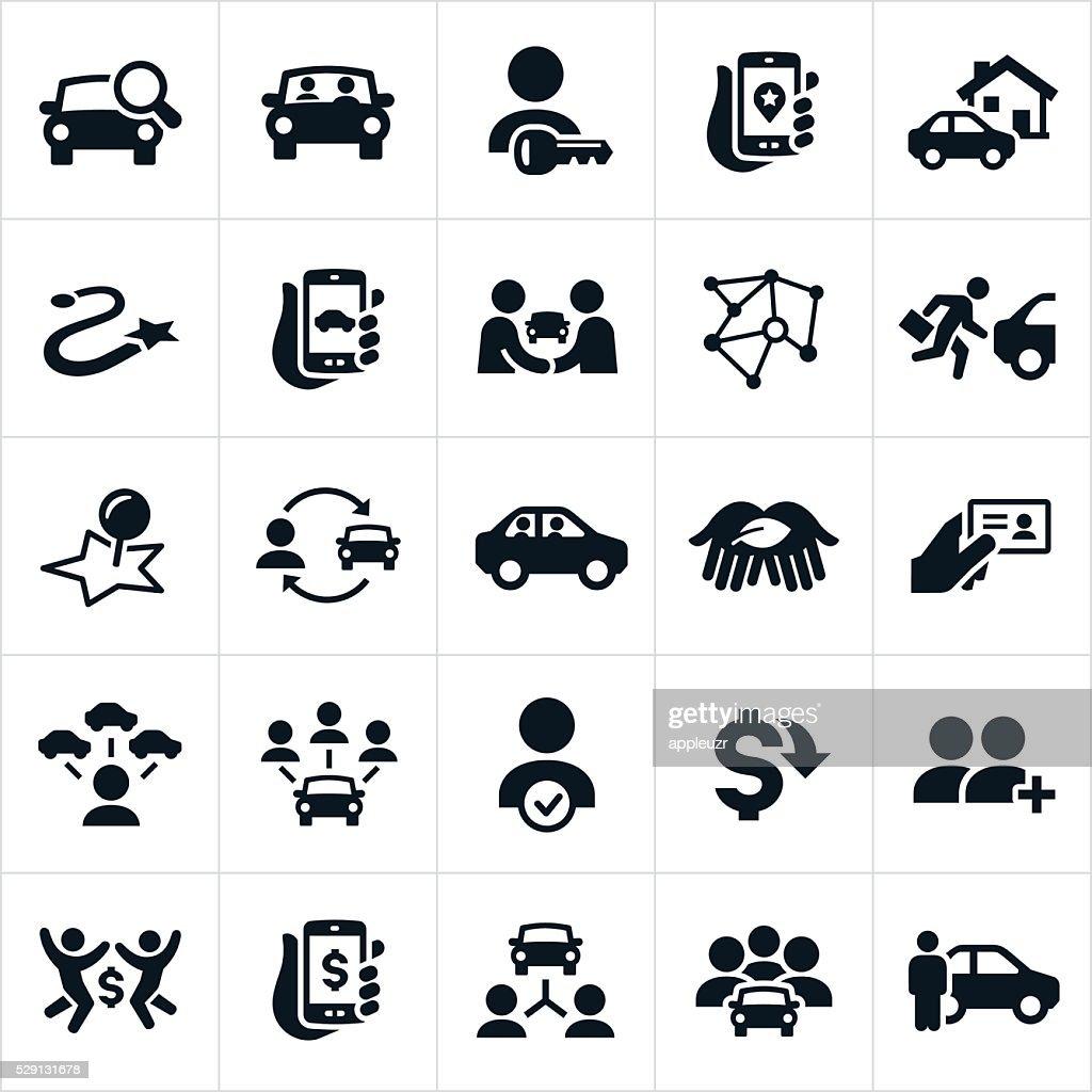 Ridesharing and Carpooling Icons : stock illustration