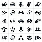 Ridesharing and Carpooling Icons