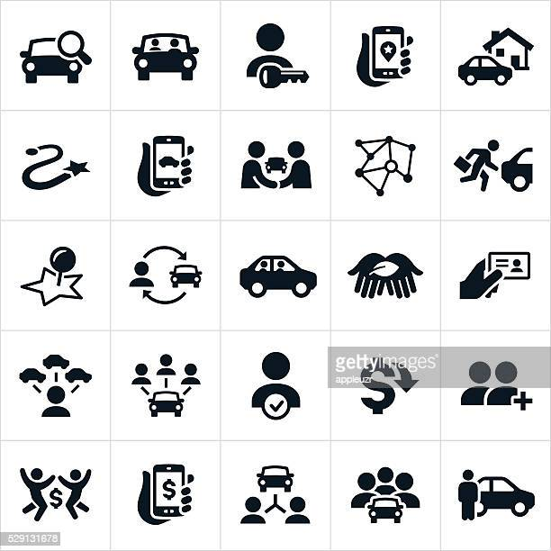 ridesharing and carpooling icons - car stock illustrations, clip art, cartoons, & icons