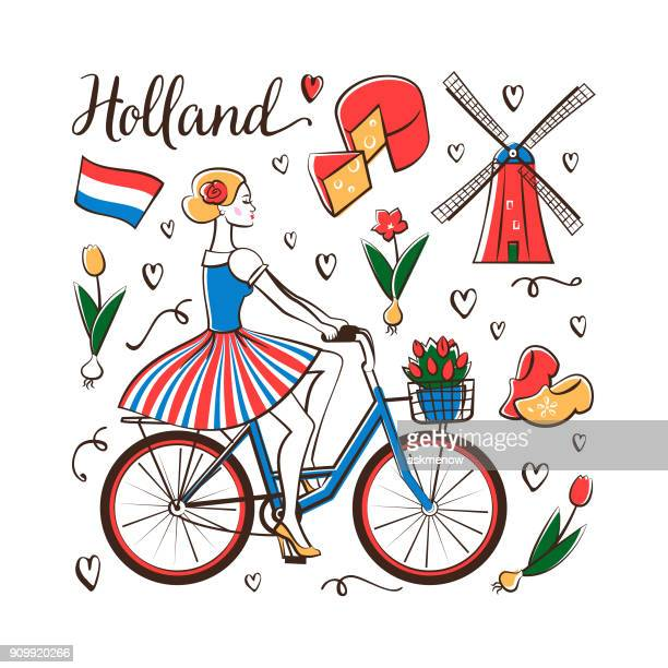 riding a bicycle in holland - basket stock illustrations, clip art, cartoons, & icons
