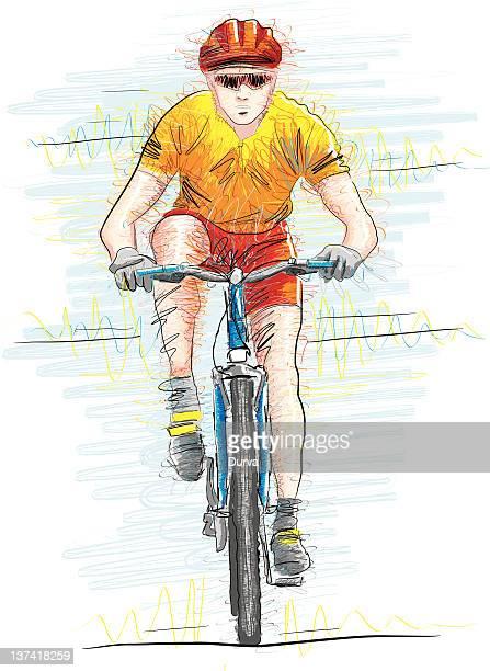 ilustrações de stock, clip art, desenhos animados e ícones de bicicleta de equitação - mountain bike