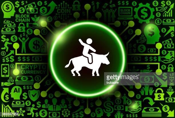 reiten-bull-symbol auf geld und kryptowährung hintergrund - piktogramm collage stock-grafiken, -clipart, -cartoons und -symbole