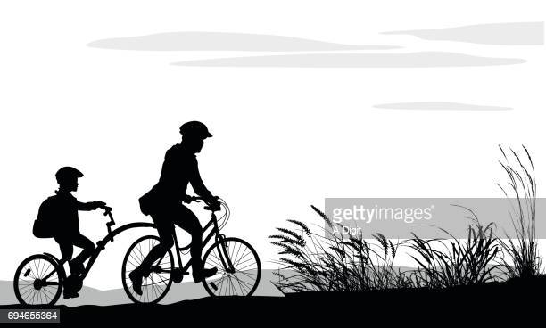 riding with mom - family cycling stock illustrations, clip art, cartoons, & icons