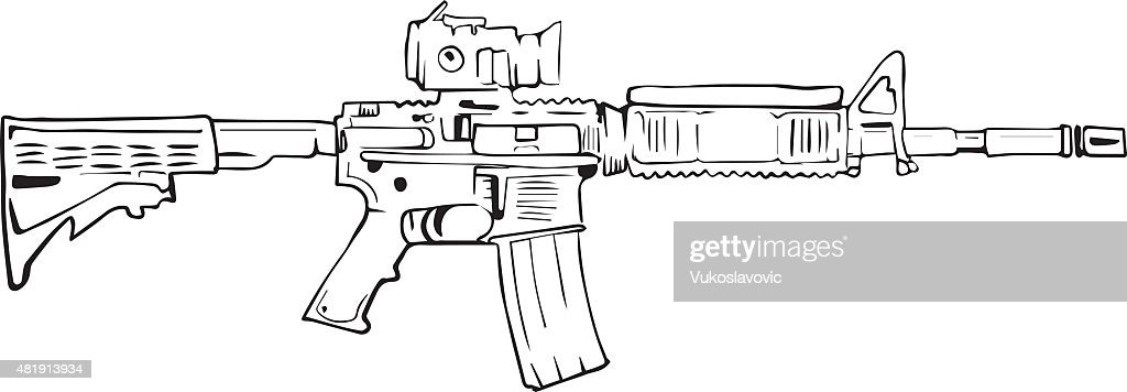 M16 rifle, comic style drawing.