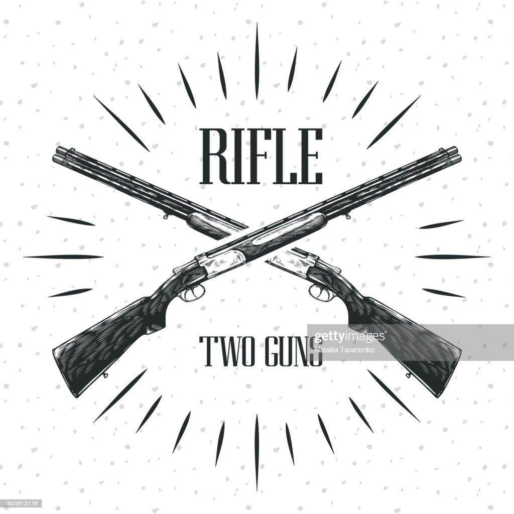 Rifle engraving vector illustration on white background