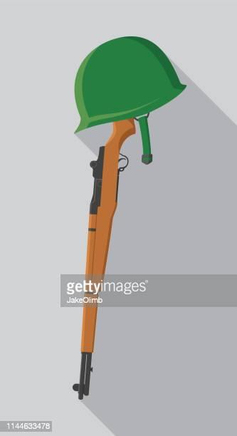 rifle with helmet flat - us marine corps stock illustrations, clip art, cartoons, & icons