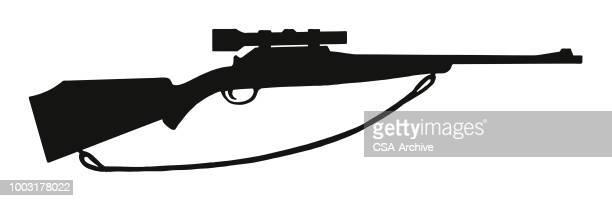 ilustrações de stock, clip art, desenhos animados e ícones de rifle with scope - armadefogo