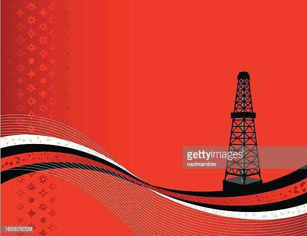 rig background red and black - oil field stock illustrations, clip art, cartoons, & icons