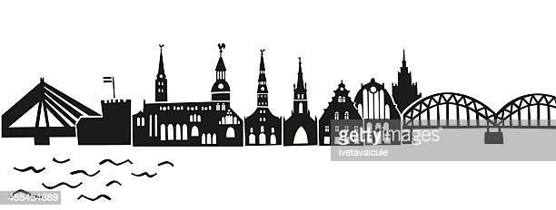 ilustraciones, imágenes clip art, dibujos animados e iconos de stock de horizonte de la ciudad de riga - letonia