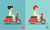 Right and wrong ways riding to prevent car crashes