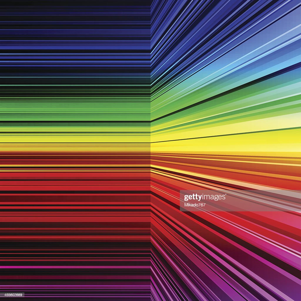 Right angle abstract rainbow colored warped stripes