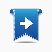 Right Arrow blue Vector Icon Design