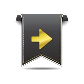 Right Arrow golden Vector Icon Design