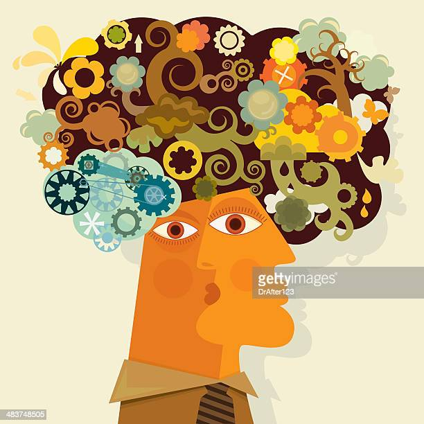 right brain individual - sensory perception stock illustrations