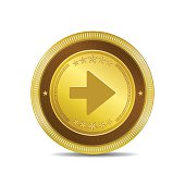 Right Key Circular Vector Gold Web Icon Button